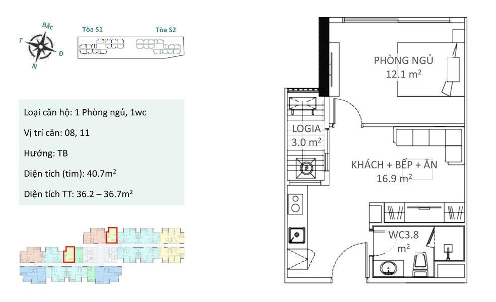 Căn hộ 1 phòng ngủ A2 Chung cư Ecopark tòa Sky Oasis