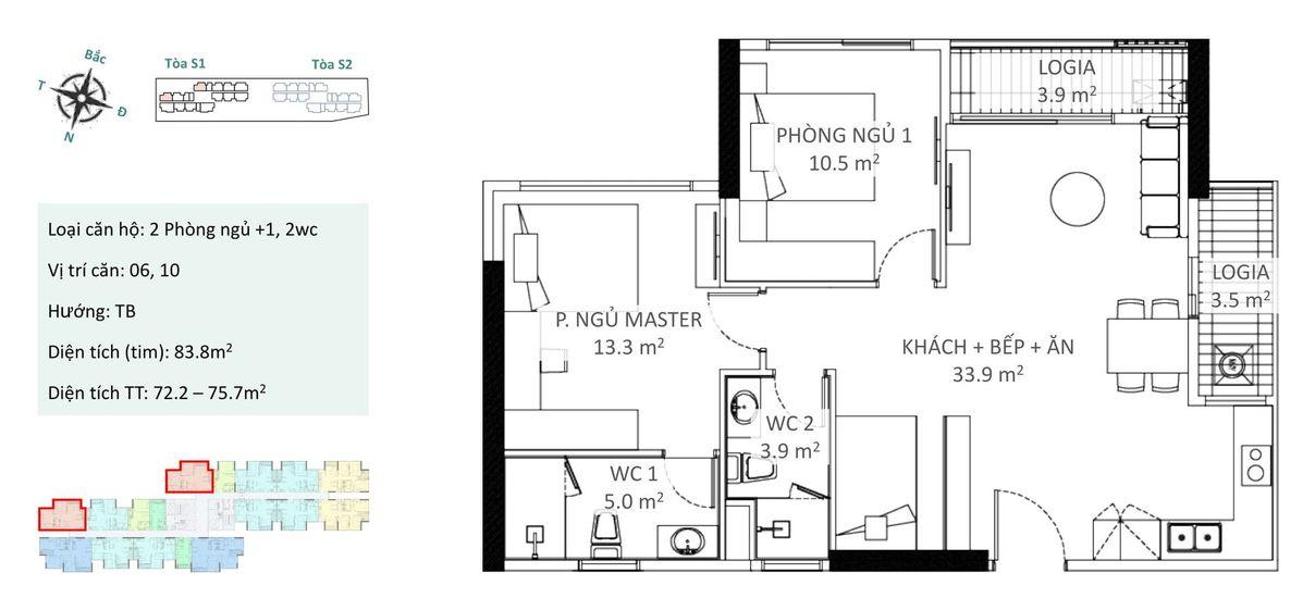Căn 2 phòng ngủ b1 và b2 chung cư ecopark