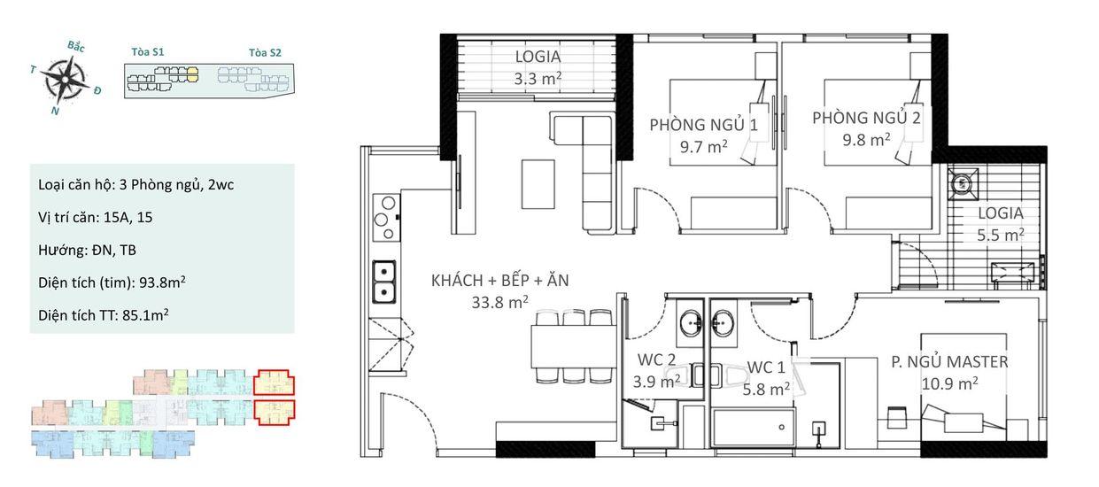 Căn hộ 3 phòng ngủ C1 và C2 Chung cư Ecopark Sky Oasis